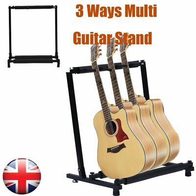 3-Way Multi Guitar Stand Foldable Acoustic Electric Bass Guitar Display Rack SA