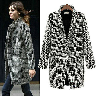 Women Ladies Lapel Wool Coat Trench Jacket Winter Long Parka Overcoat Outwear UK