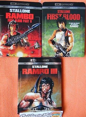 First Blood + Rambo 2 + Rambo 3 4K Ultra Hd + Blu-Ray 3-Movie ✔☆Mint☆✔No Digital