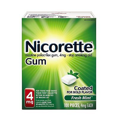 Nicorette Gum Fresh Mint 4 mg Stop Smoking Aid 100 count - EXP 08/2019 or better