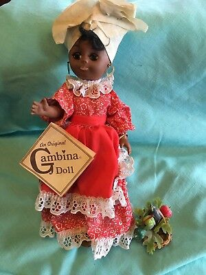 """GAMBINA BLACK AMERICAN DOLL CLEO MARKET LADY NEW ORLEANS  with tag 12"""""""