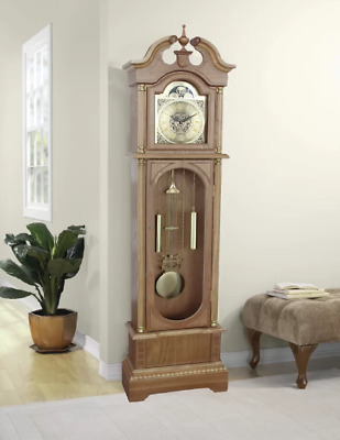 Large Grandfather Clock Vintage Wooden Flool Standing Roman Numerals Antique