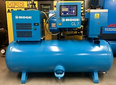Boge CLD7-270 Receiver Mounted Rotary Screw Compressor With Dryer! 25Cfm! 5.5Kw!
