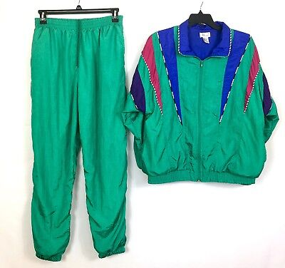 Vintage  Bocoo Women's Track Suit XL Jacket and Pants Nylon Green 90's