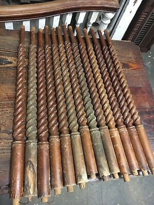 "Lot of 13 c1890 barley twist staircase spindle balusters heart pine 31"" x 1.75"""