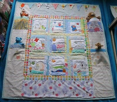 New cotton personalised COT or BED Quilt play blanket Toy Bag & bunting