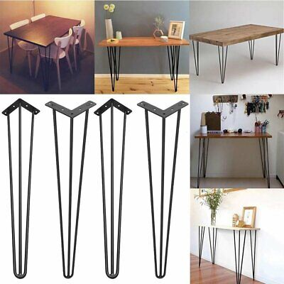 "4pcs Hairpin Table Legs 2/3 Rod 10mm Steel Bench Desk Leg 8"" 12"" 16"" 28"""
