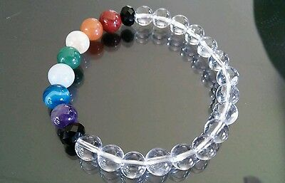 "Clear Quartz Gemstone 7 Chakra Healing 7.5"" 8mm Stretch Bracelet Reiki Beads"