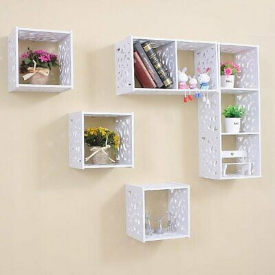 White Wooden Wall Cube Floating Shelf Display Storage Unit Cubes Shelves