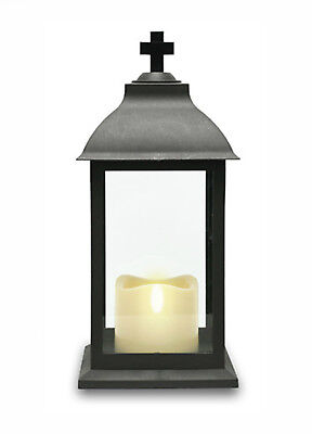 Grave Lantern with Flickering LED Candle - Tribute Funeral Cemetery Decoration