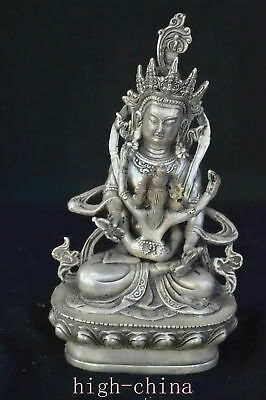 Collectable Chinese Ancient  Miao Silver Carve Tibet Happy Buddha Old Statue