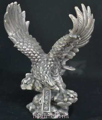 Collectable Ancient Chinese Miao Silver Carve Eagle Tibet Exorcise Table Statue