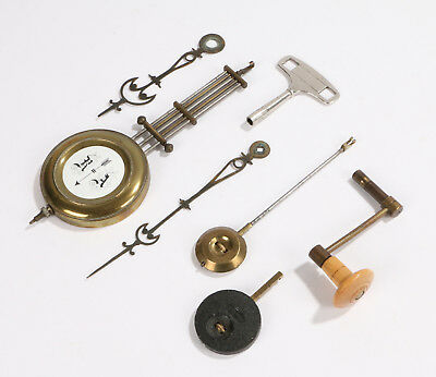 Antique/Vintage Wall Longcase Clock spares, key, pendulum, winder,