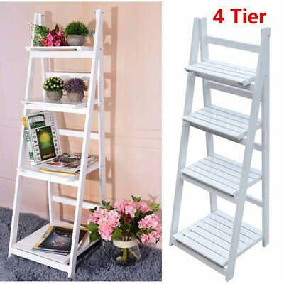 Vintage White Ladder Bookcase 4 Tier Flower Rack Room Display Storage Shelf UK