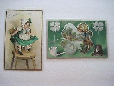 2 Vintage St. Patrick's Day Postcards, 1 is by Ellen Clapsaddle, 1 is unposted