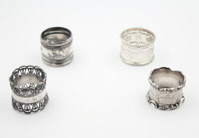 Lot Of 4 Assorted Silverplate Napkin Rings No Reserve #4084