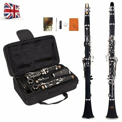 Black Clarinet Bb Student Beginner Professional School Band With CASE Kit