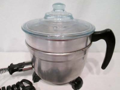 Vtg Fostoria 202 Popcorn Popper BERSTED ALUMINUM Orig Cord Clear Blue Fire King