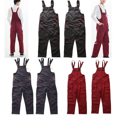 Men Women Drill Bib & Brace Painters Overalls Coverall quilted Multi Pocket