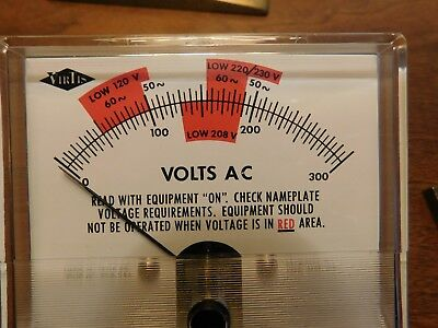 NOS Vtg 1967 Virtis 120/208/220/230 RED Line Level Voltmeter 320S Meter 300VAC