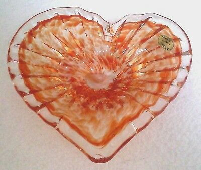 "Murano Lavorazione Orange Clear Heart Shaped 7"" x 7.5"" 480 gram Art Glass Bowl"