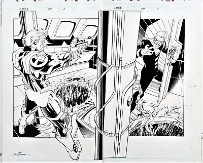 Cable #47 Pages 2-3 Original Art DPS Title Splash Vs Bastion  Randy Green X-Men