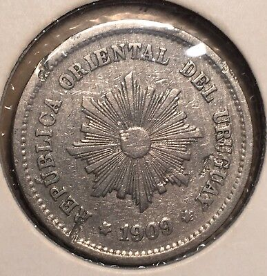 1909 Uruguay 5 Centesimos World Coin KM21 five cents South America Radiant Sun