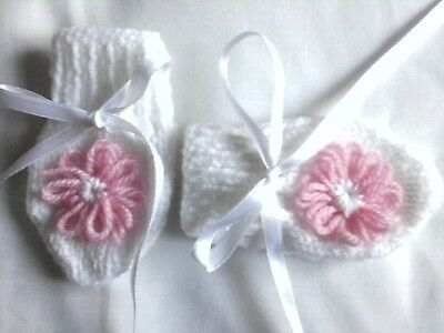 New Hand Knitted Baby Mittens, 0-3 Months