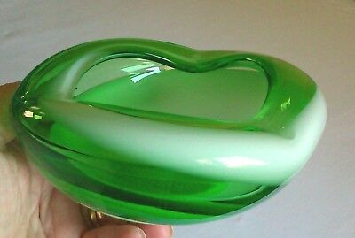 Italian Alrose Empoli Green White Stripe 12.5 cm W x 5 cm Art Glass bowl