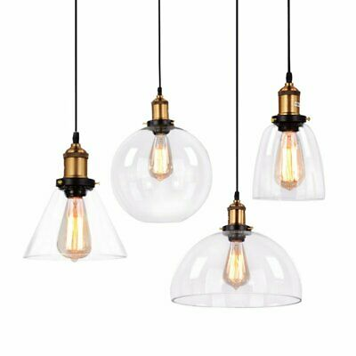 Light Pendant Bell Glass Shade Ceiling Lamp Pendent Lighting Clear Glass Lamp UK