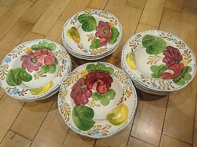 "Belle Fiore Simpsons Hand Painted Unique China Ware Cereal Bowls 6.5"" 17cm"