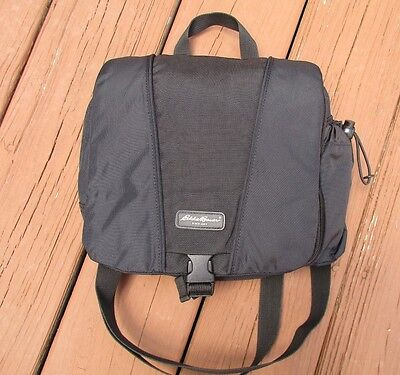 293a5a4a6c EDDIE BAUER Unisex Black Nylon Multi Compartment Messenger Shoulder Travel  Bag