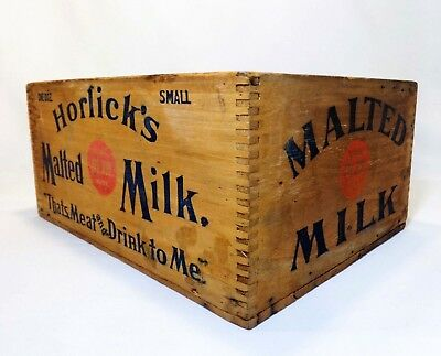 Early 20Th C Vint Horlick's Malted Milk Wood Box Crate W/Red & Blue Stamped Ink