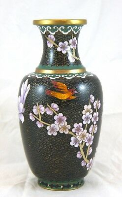 Chinese Cloisonne Vase. Copper Brass Black w Red Bird, Peonies, Plum Blossoms 8""
