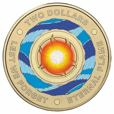 1 x 2018 $2 Dollar Coin - Eternal Flame, Lest We Forget  Uncirculated