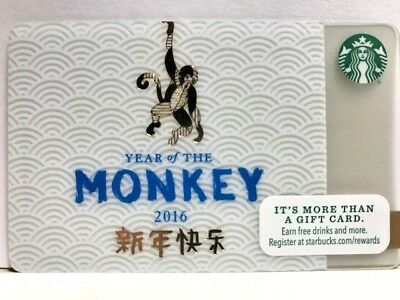 NEW Starbucks 2016 Chinese New Year,Year of the MONKEY, no load no swipe