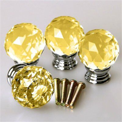 4x 30MM Gold Crystal Diamond Glass Pull Handle Drawer Cupboard Cabinet Door Knob