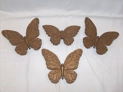 Homco Home Interiors 4 Gold Tone Plastic Syroco Butterflies 1970's