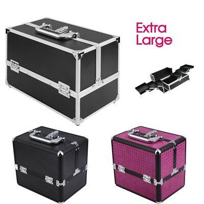 UK Extra Large Vanity Case Beauty Box Make up Jewelry Cosmetic Nail Storage Box