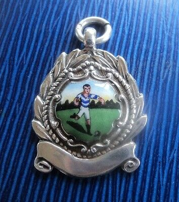 Attractive Sterling Silver & Enamel Football Fob Medal h/m 1948 Chester