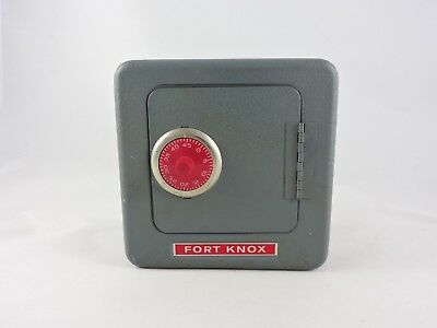 FORT KNOX Steel Safe Toy Bank 1974 Superior combination lock coin vintage metal