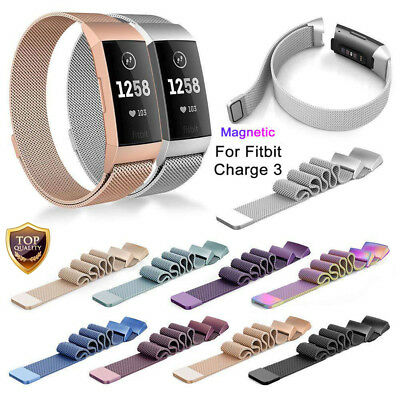 For Fitbit Charge 3 Wristband Metal Stainless Milanese Magnetic Loop Band Strap