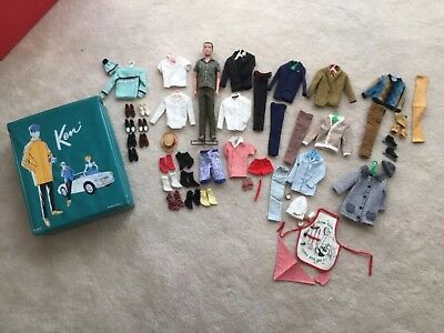 1962 Ken Doll, Teal Ponytail Case, Lots of Clothes & Accessories. EXCELLENT!!!