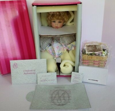 """Coa #1166 New In Box Marie Osmond Basket And Blooms Baby 13"""" Porcelain Doll"""