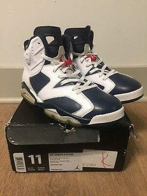 sports shoes 35165 776bd Nike Air Jordan Retro 6 VI Olympic White Midnight Navy Varsity Red Size 11  USA