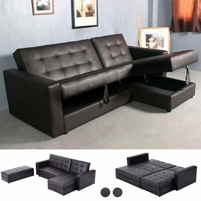 LUXURY L-SHAPED CORNER Sofa Bed Sofabed Fabric & Leather 3 Seater ...