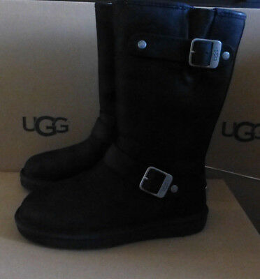 0119744a4f7 UGG AUSTRALIA WOMEN'S Sutter Mid Black Leather Moto Buckle Boots ...