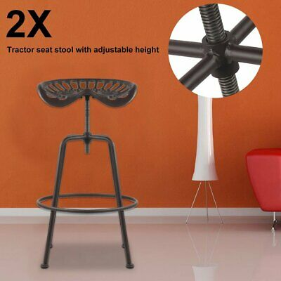 Pair Vintage Style Industrial Tractor Seat Bar Stool Barstool Cast Iron Chair UK