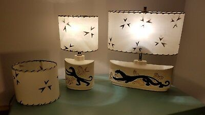 Vintage Mid-Century 1950's Panther Lamps with Fiberglass Shades