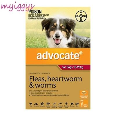 Advocate for Dogs 10-25kg RED 1, 2, 3 Pack & 6 Pack